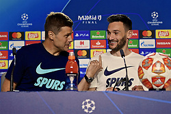 MADRID, SPAIN - Friday, May 31, 2019: Tottenham Hotspur's manager Mauricio Pochettino and goalkeeper Hugo Lloris during a press conference ahead of the UEFA Champions League Final match between Tottenham Hotspur FC and Liverpool FC at the Estadio Metropolitano. (Pic by Handout/UEFA)