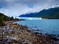 NATIONAL PARK LOS GLACIARES, ARGENTINA - CIRCA FEBRUARY 2019: View of the Glacier Perito Moreno and Argentino Lake, a famous landmark within the Los Glaciares National Park in Argentina