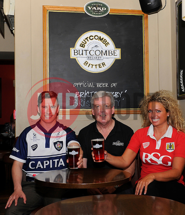 Aidan Dodd and Suzanne Roper enjoy a drink in the Colston Yard Pub with Guy Newell from Butcombe- Photo mandatory by-line: Joe Meredith/JMP - Mobile: 07966 386802 05/08/2014 - Bristol - Colston yard Pub - Pouring Rights