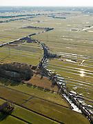Nederland, Zuid-Holland, Gemeente Bergambacht, 20-02-2012; Krimpenerwaard met Polder Berkenwoude en de eendenkooi Kooilust. De langwerpige verkaveling is ontstaan door het ontginnen van het veen vanuit de dorpen langs de rivieren Hollandsche IJssel en Lek (aan de verre horizon), zgn. ontginningen met vrije opstreek. De achtergrens van de verkavelingen wordt gevormd door  Ouderkerkse Landscheiding (de houtkade, diagonaal met lichte kromming). .Polder Berkenwoude in the Krimpenerwaard with decoy. The land division (in lots) has been created by the reclamation of peat bog starting from the villages along the rivers Lek and Hollandsche IJssel..luchtfoto (toeslag), aerial photo (additional fee required);.copyright foto/photo Siebe Swart.