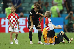 SOCHI, July 7, 2018  Luka Modric (C) of Croatia celebrates victory with his children after the 2018 FIFA World Cup quarter-final match between Russia and Croatia in Sochi, Russia, July 7, 2018. Croatia won 6-5 (4-3 in penalty shootout) and advanced to the semi-finals. (Credit Image: © Cao Can/Xinhua via ZUMA Wire)