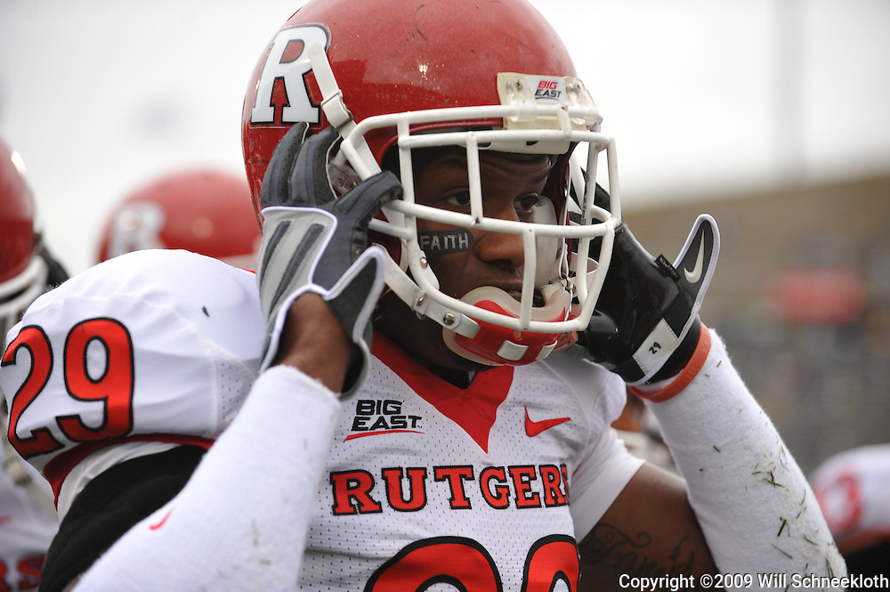 Oct 31, 2009; East Hartford, CT, USA; Rutgers cornerback Zaire Kitchen (29) pulls on his helmet during first half Big East NCAA football action between Rutgers and Connecticut at Rentschler Field.