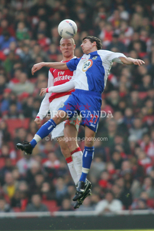 London, England - Saturday, February 17, 2007: Arsenal's Phillipe Senderos and Blackburn Rovers'  Matt Derbyshire during the FA Cup 5th round match at the Emirates Stadium. (Pic by Chris Ratcliffe/Propaganda)