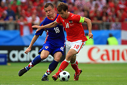 Ivica Olic of Croatia and Andreas Ivanschitz of Austria during the UEFA EURO 2008 Group B soccer match between Austria and Croatia at Ernst-Happel Stadium, on June 8,2008, in Vienna, Austria.  (Photo by Vid Ponikvar / Sportal Images)