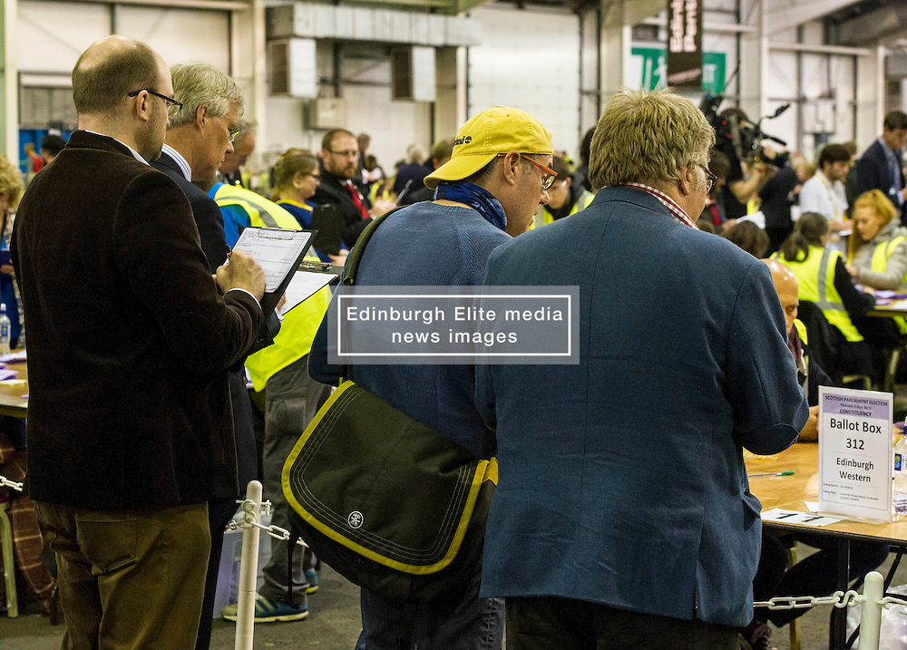 Pictured: <br /> The count has started for the Edinburgh Count as part of the Scottish Election 2016. A long night is anticipated with results predicted to start being announced around 7 AM<br /> <br /> <br /> <br /> Ger Harley   EEm 5 May 2016