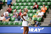 SEPTEMBER 21: Monica Puig of Puerto Rico Olympic gold medal winner competes again Petra Kvitova of Czech Repuplic during women's singles match day three of the Toray Pan Pacific Open at Ariake Colosseum on September 21, 2016 in Tokyo, Japan 21/09/2016-Tokyo, JAPAN