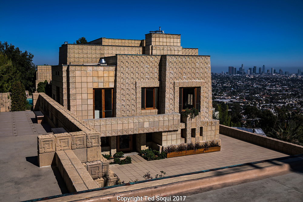 The Ennis House designed by Frank Lloyd Wright.<br /> Outside view.