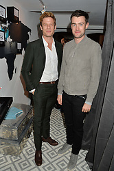 Left to right, JAMES NORTON and JACK WHITEHALL at a dinner hosted by Autograph Collection Hotels held at 19 Greek Street, Soho, London on 12th October 2016.