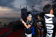 PATTAYA, THAILAND - DECEMBER 09: Mark Gomez of USA and Rickter wife on the Grandstand during the Royal Trophy presentation for the Pro Freestyle second run at the Thai Airways International Jet Ski World Cup 2018, Jomtien Beach, Pattaya, Thailand on December 09, 2018. <br /> .<br /> .<br /> .<br /> (Photo by: Naratip Golf Srisupab/SEALs Sports Images)<br /> .<br /> Any image use must include a mandatory credit line adjacent to the content which should read: Naratip Golf Srisupab/SEALs Sports Images