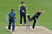 Scott Borthwick (Surrey) bowling during the Royal London 1 Day Cup match between Surrey County Cricket Club and Kent County Cricket Club at the Kia Oval, Kennington, United Kingdom on 12 May 2017. Photo by Jon Bromley.