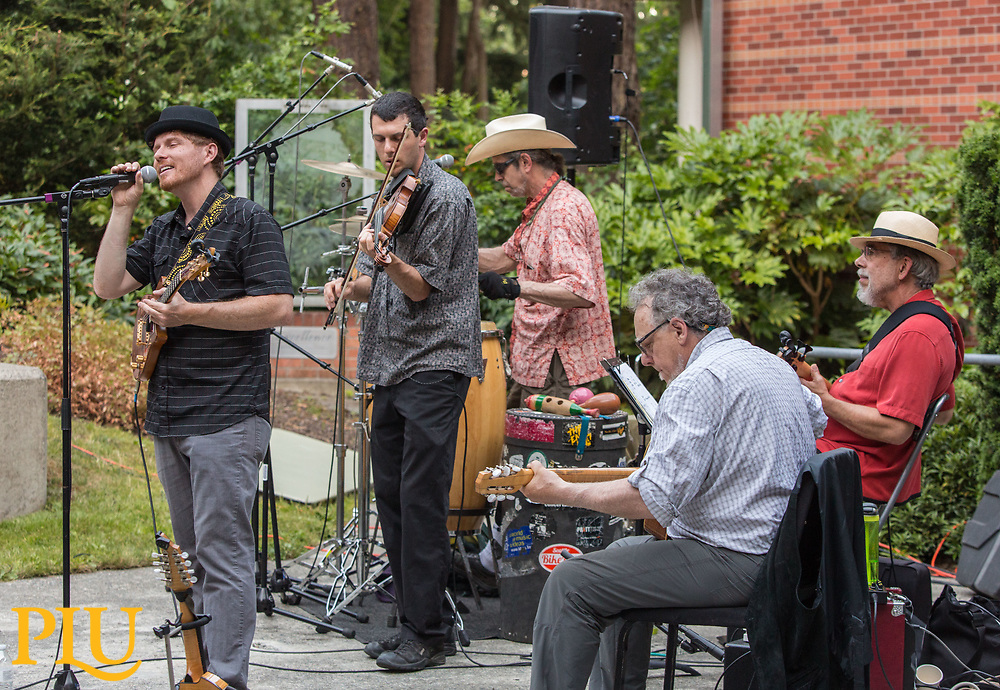 Ranger and the Re-Arrangers, an Eclectic string swing band, perform for Jazz Under the Stars in the Mary Baker Russell Amphitheater at PLU, Thursday, July 6, 2017. (Photo: John Froschauer/PLU)