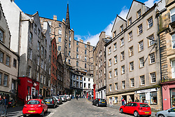 View along historic Victoria Street from the Grassmarket in Old Town of Edinburgh, Scotland, United Kingdom.