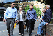 from left to right Ian Tomlinson son Paul King, Widow Julia Tomlinson & son Richard King arrive at Southwark Crown Court for the start of his trial for the manslaughter of Newspaper seller Ian Tomlinson on 19th June 2012..Harwood denies the manslaughter a homeless 47-year-old newspaper seller, in central London on April 1 2009.  .Photo Ki Price