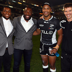 DURBAN, SOUTH AFRICA - JULY 15: Sibusiso Sithole with Tendai Beast Mtawarira and JP Pietersen Jimmy Wright (Biokinetcist) Jimmy Wright (Biokinetcist) during the Super Rugby match between the Cell C Sharks and Sunwolves at Growthpoint Kings Park on July 15, 2016 in Durban, South Africa. (Photo by Steve Haag/Gallo Images)