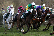 Anibale Fly and Barry Geraghty (3) negotiate Canal Turn safely on the outside in The Randox Health Grand National on Grand National Day at at Aintree, Liverpool, United Kingdom on 14 April 2018. Picture by Craig Galloway.