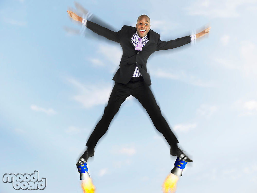 Businessman Wearing Rocket Shoes
