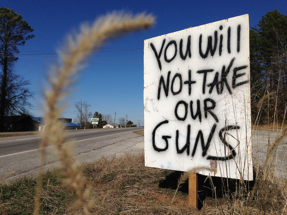 Photo by Gary Cosby Jr.    A sign on US Highway 31 in Decatur shows a little flavor of some of the feelings about gun control in Alabama.  The sign was posted along the roadside in the Flint area.