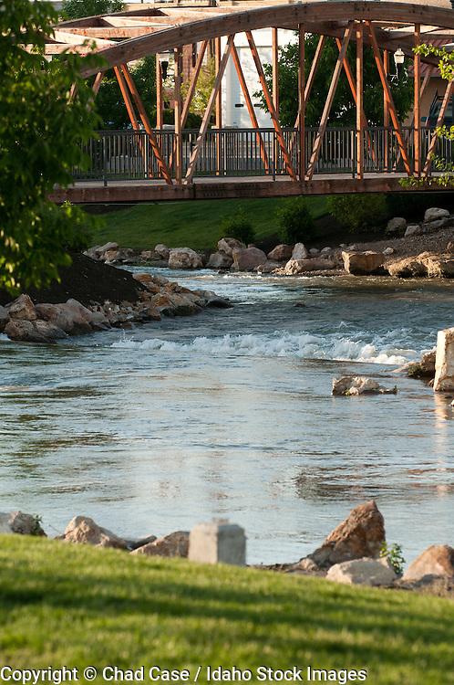 Caldwell, Idaho and bridge over Indian Creek.