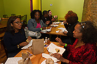 """The Hyde Park Chamber of Commerce held its 2015 Dinner Trek Tuesday evening. Participants were invited to try samples of food from restaurants along 55th and 57th Street between Cottage Grove and the lakefront.<br /> <br /> 0850 – Dinner trekers enjoying food at B'Gabs Goodies located at 1405 E. 57th Street.<br /> <br /> Please 'Like' """"Spencer Bibbs Photography"""" on Facebook.<br /> <br /> All rights to this photo are owned by Spencer Bibbs of Spencer Bibbs Photography and may only be used in any way shape or form, whole or in part with written permission by the owner of the photo, Spencer Bibbs.<br /> <br /> For all of your photography needs, please contact Spencer Bibbs at 773-895-4744. I can also be reached in the following ways:<br /> <br /> Website – www.spbdigitalconcepts.photoshelter.com<br /> <br /> Text - Text """"Spencer Bibbs"""" to 72727<br /> <br /> Email – spencerbibbsphotography@yahoo.com"""