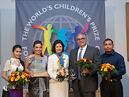 At a World&rsquo;s Children&rsquo;s Press Conference held today at Gripsholms Castle in Mariefred, Sweden, the 2015 World&rsquo;s Children&rsquo;s Prize Child Rights Hero of the Year was named: Phymean Noun, Cambodia has been elected by millions of children to receive the World&rsquo;s Children&rsquo;s Prize (often called the &lsquo;Children&rsquo;s Nobel Prize&rsquo; by the media). Javier Stauring from the USA and Kailash Satyarthi from India receive the World&rsquo;s Children&rsquo;s Honorary Awards. Emma Mogus, 16, from Canada and representative of the WCP Child Jury, led the press conference and said that &ldquo;In a unique Global Vote, almost two million children have voted for their Child Right Heroes.&rdquo; The Prize money, USD 100,000, is shared among the three Laureates, to be used in their work, and has in previous years helped improve the lives of tens of thousands of the world&rsquo;s most vulnerable children. Last year&rsquo;s laureate Malala Yousafzai used her prize money to rebuild schools in Gaza.  Photo: Sofia Marcetic/World's Children's Prize<br /> <br /> Since the year 2000, the World&rsquo;s Children&rsquo;s Prize program has educated and empowered over 38 million children. It&rsquo;s the world&rsquo;s largest annual educational initiative for equality, the rights of the child and democracy. The program is run annually in schools worldwide. Each year, three out&not;standing child rights heroes are selected by the Child Jury as candidates for the World&rsquo;s Children&rsquo;s Prize for the Rights of the Child.  The three candidates are then presented to the world&rsquo;s children through  the WCP magazine The Globe, video, web and social media. Tens of thousands of volunteers and organisations help to implement the WCP program every year, including at least 50,000 teachers and over a hundred organisations, social enterprises and departments of education. Over 67,000 schools in 113 countries have signed up for the WCP.<br />     The WCP program concludes with an annual Global Vote in which millions of children vote to elect their child rights hero of th