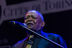 May 29, 2015 - Turin, Italy - Trumpeter, composer and South African singer Hugh Masekela has performed live during the second evening of the fourth edition of the Turin Jazz Festival on May 29, 205 in Turin, Italy. Hugh is internationally known for the social and political commitment against Apartheid. (Credit Image: © Elena Aquila/NurPhoto/ZUMA Wire)