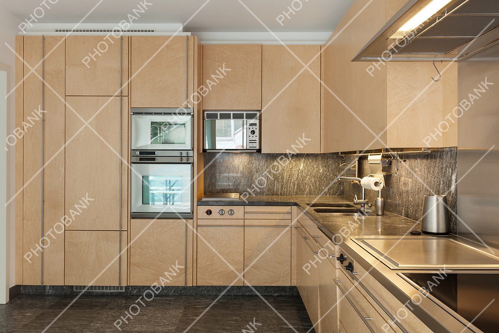 Architecture, interior of modern apartment, domestic kitchen