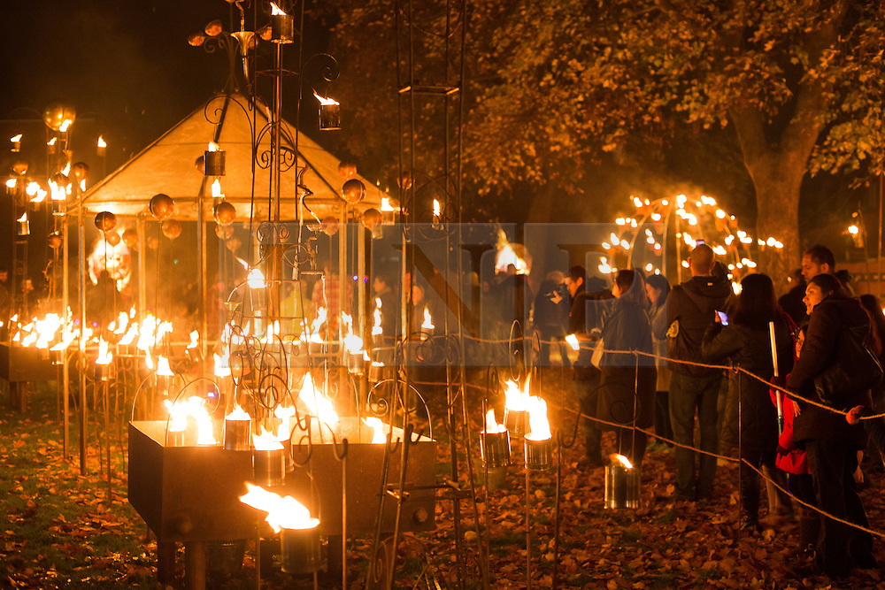 "© Licensed to London News Pictures. 01/11/2015. Leicester, UK. More than 35,000 people were estimated to have attended the annual Diwali ight switch-on which took place along the named ""Golden Mile"" in Belgrave Road, Leicester. Pictured, the fire display in Cossington Recreation ground, part of the Diwali festival of light. Photo credit : Dave Warren/LNP"