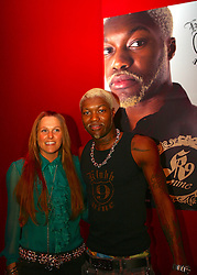 LIVERPOOL, ENGLAND - SATURDAY, MARCH 25th, 2006: Liverpool and France striker Djibril Cisse with his wife Jude at the UK launch of his clothing label Klubb 9 at the Isis Club, Liverpool. (PIc by David Rawcliffe/Propaganda)