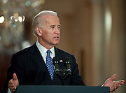Mar 23,2010 - Washington, District of Columbia USA - .Vice President Joe Biden makes opening remarks and introduces President Barack Obama during a ceremony in the East Room of the White House.  After addressing an audience that included lawmakers who supported the measure, President Obama signed a landmark health-care bill into law Tuesday, enacting a sweeping overhaul of the nation's $2.5 trillion health system...(Credit Image: © Pete Marovich/ZUMA Press)