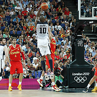 12 August 2012: USA Kobe Bryant takes a three points jumpshot over Rudy Fernandez during 107-100 Team USA victory over Team Spain, during the men's Gold Medal Game, at the North Greenwich Arena, in London, Great Britain.