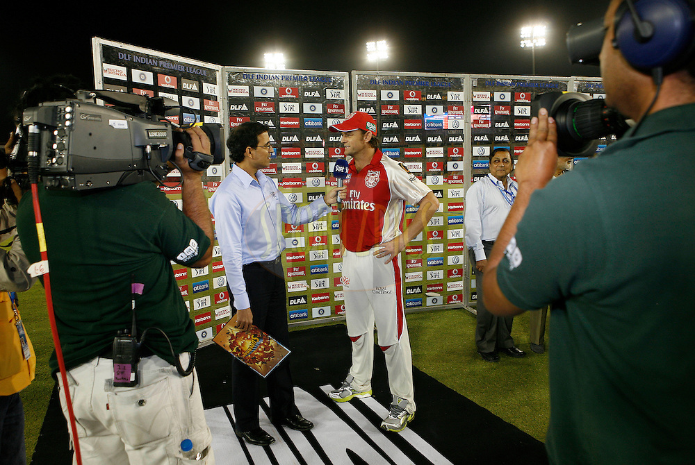 Kings XI Punjab captain Adam Gillchrist (R) at the presentation ceremony after match 9 of the Indian Premier League ( IPL ) Season 4 between the Kings XI Punjab and the Chennai Super Kings held at the PCA stadium in Mohali, Chandigarh, India on the 13th April 2011..Photo by Money Sharma/BCCI/SPORTZPICS