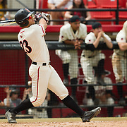 15 April 2018: San Diego State's Chad Bible (23) hits a two run double off the wall in right center field to give the Aztecs a 7-2 lead over the Titans in the third inning. The San Diego State baseball team closed out the weekend series against Cal State Fullerton with a 9-6 win at Tony Gwynn Stadium. <br /> More game action at sdsuaztecphotos.com