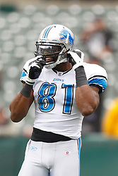 Dec 18, 2011; Oakland, CA, USA; Detroit Lions wide receiver Calvin Johnson (81) adjusts his helmet during warms up before the game against the Oakland Raiders at O.co Coliseum. Detroit defeated Oakland 28-27. Mandatory Credit: Jason O. Watson-US PRESSWIRE