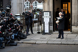 © Licensed to London News Pictures. 12/12/2019. London, UK. Prime Minister Boris Johnson and his dog Dilyn depart The Methodist Hall in Westminster after casting his vote . Photo credit: George Cracknell Wright/LNP