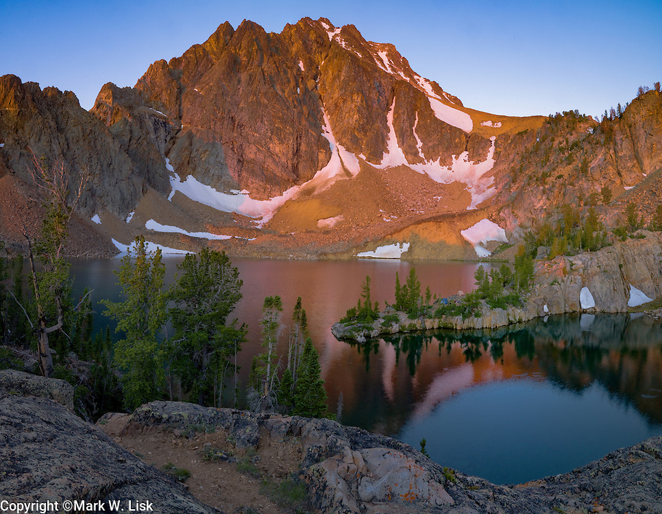 Castle Lake reflects Castle Peak, the tallest peak in the White Cloud Range at 11815 feet.
