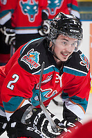KELOWNA, CANADA - NOVEMBER 30: Jesse Lees #2 of the Kelowna Rockets warms up against the Kamloops Blazers on November 30, 2013 at Prospera Place in Kelowna, British Columbia, Canada.   (Photo by Marissa Baecker/Shoot the Breeze)  ***  Local Caption  ***