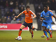 Luton Town player Olly Lee runs the ball down the sideline in the second half during the EFL Sky Bet League 2 match between Luton Town and Barnet at Kenilworth Road, Luton, England on 24 March 2018. Picture by Ian  Muir.