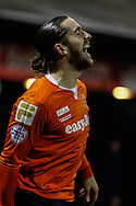 Luke Rooney of Luton Town (right) celebrates scoring the opening goal against Bury with Andy Drury of Luton Town (left) during the The FA Cup match at Kenilworth Road, Luton<br /> Picture by David Horn/Focus Images Ltd +44 7545 970036<br /> 16/12/2014