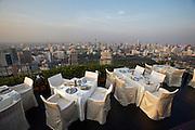 Downtown Bangkok seen from Banyan Tree Hotel's Vertigo Grill & Moon Bar on the 61st floor.