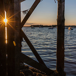 The sun shines through pier pilings at Great Wass Lobster in Beals, Maine.