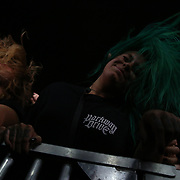 2019-08-03 | Borgholm, Sweden: Headbaning crowd during the concert by In Flames at Borgholms Slottsruin ( Photo by: Fredrik Sten | Swe Press Photo )<br /> <br /> Keywords: BORGHOLM, Konsert, Festival, Borgholms Slottsruin, In Flames, Borgholm Brinner, rock, metal, doom, band, Borgholm, Concert, Show, Borgholms Slottsruin, In Flames, Borgholm Brinner, Borgholm Castle
