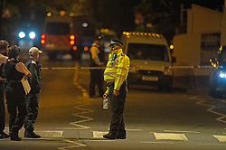 ©Licensed to London News Pictures 25/07/2020     <br /> Chislehurst, UK. Police have cordoned off the Gordon Arms pub in Chislehurst, South East London after reports of two men being stabbed. Forensic officers are at the scene. Police were called at 20:52hrs on 24.07.20. Photo credit: Grant Falvey/LNP