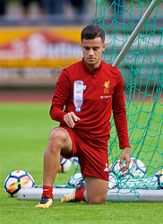 ROTTACH-EGERN, GERMANY - Friday, July 28, 2017: Liverpool's Philippe Coutinho Correia flips a water bottle after a training session at FC Rottach-Egern on day three of the preseason training camp in Germany. (Pic by David Rawcliffe/Propaganda)