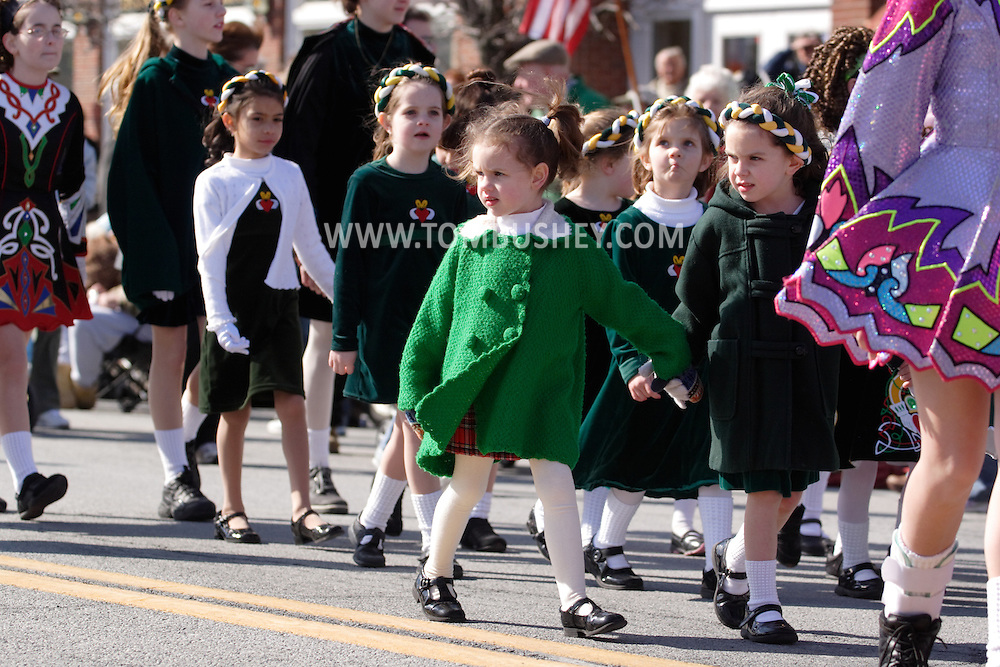 Goshen, New York - Girls from an Irish step-dancing school march during the Mid-Hudson St. Patrick's Day parade on March 11, 2007.