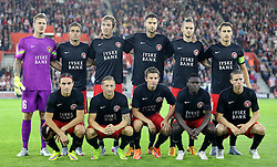 The FC Midtjylland team line up before the match - Mandatory byline: Paul Terry/JMP - 07966386802 - 20/08/2015 - FOOTBALL - ST Marys Stadium -Southampton,England - Southampton v FC Midtjylland - EUROPA League Play-Off Round