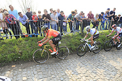 The peloton with Greg Van Avermaet (BEL) CCC Team, World Champion Alejandro Valverde (ESP) Movistar and Alexander Kristoff (NOR) UAE Team Emirates climb the Koppenberg during the 2019 Ronde Van Vlaanderen 270km from Antwerp to Oudenaarde, Belgium. 7th April 2019.<br /> Picture: Eoin Clarke | Cyclefile<br /> <br /> All photos usage must carry mandatory copyright credit (© Cyclefile | Eoin Clarke)