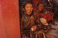 Mongolia. woman praying  in Shankin Barun Kuree new monastery inHurjit area