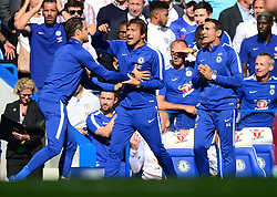 carlo cudicini of chelsea holds back Chelsea manager Antonio Conte - Mandatory by-line: Alex James/JMP - 12/08/2017 - FOOTBALL - Stamford Bridge - London, England - Chelsea v Burnley - Premier League