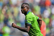 Nouhou Tolo #5 of Seattle Sounders runs down the field during a MLS soccer match against the New England Revolution on Saturday, Aug. 10, 2019, in Seattle. The teams played tp a 3-3 tie. (Alika Jenner/Image of Sport)