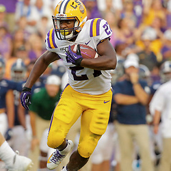 Aug 31, 2019; Baton Rouge, LA, USA; LSU Tigers running back Lanard Fournette (27) runs against the Georgia Southern Eagles during the first half at Tiger Stadium. Mandatory Credit: Derick E. Hingle-USA TODAY Sports